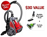 Ovente ST2620R Bagless Canister Cyclonic Vacuum – HEPA Filter – Includes Pet/Sofa, Bendable Multi-Angle, Crevice Nozzle/Bristle Brush, Retractable Cord – Featherlite – ST2620 Series