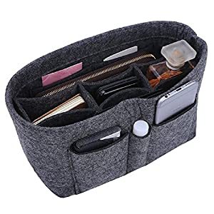 Felt Insert Purse Organizer, 13 Pockets Bag in Bag Organizer Handbag Organizer For Tote & Handbag Shaper Fits Speedy Neverfull, Grey