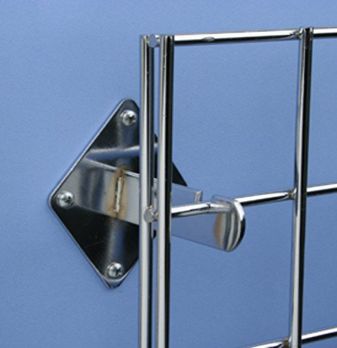 Set of 12 Pieces Only Garment Racks Wall Brackets for Gridwall or Grid Panels Chrome Color