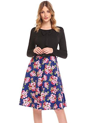 Patchwork Flower 3 Floral Party Cocktail Swing Women's Long Sleeve Vintage Dress ACEVOG wxtq4P
