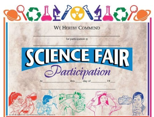 "Top Hayes 376766 Science Fair Awards and Incentives Certificate, 8-1/2"" x 11"" Size, Paper"
