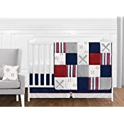 Sweet JoJo Designs Red, White and Blue Baseball Patch Sports Baby Boy Crib Bedding Set Without Bumper - 11 Pieces - Grey Patchwork Stripe