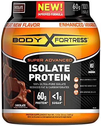 Body Fortress Super Advanced Whey Protein Isolate Powder, Gluten Free, Chocolate, 1.5 lbs Packaging May Vary