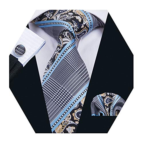 (Barry.Wang Mens Plaid Check Silk Necktie Set Formal Tie Pocket Square Cufflinks Set (Blue))