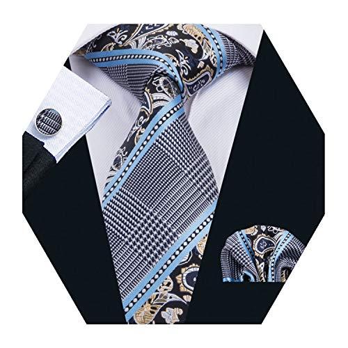 Barry.Wang Mens Plaid Check Silk Necktie Set Formal Tie Pocket Square Cufflinks Set (Blue)