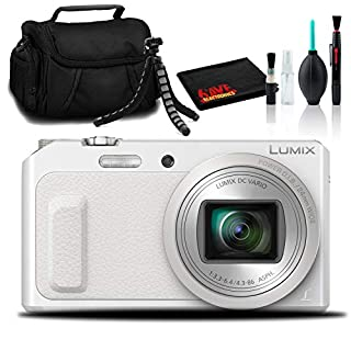 "Panasonic Lumix DMC-ZS45 Digital Camera (White) with Carry Case and 12"" Tripod"