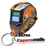 Biltek Professional Auto Darkening Solar Welding Helmet MIG TIG ARC Plasma Flames Skull + KapscoMoto Keychain
