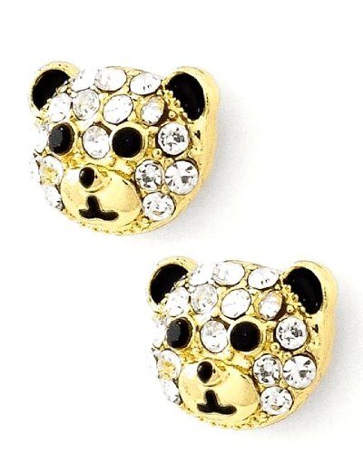 Adorable Small Gold Tone Teddy Bear Stud Earrings Embellished Sparkling Crystals for Girls Teens Women