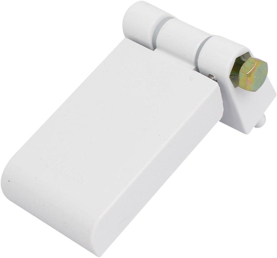 sourcing map Bisagra plegable de Bandera de Ventana de plástico PVC en forma de T de tornillo metálico Fijo blanca