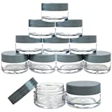 small cosmetic jars - Beauticom 12 Pieces 20G/20ML Round Clear Jars with Gray Lids for Herbs, Spices, Loose Leaf Teas, Coffee and Other Foods - BPA Free