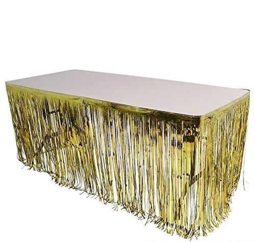 Rhode Island Novelty Gold Metallic Foil Fringe Table Skirt 144