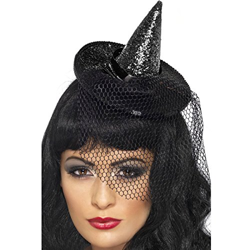 [Smiffy's Women's Mini Glitter Witches Hat, Black, One Size, 23036] (Witch Dresses)