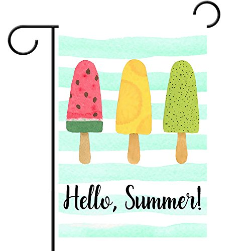 Hello Summer Popsicles And Ice Cream Blue Stripe Double Sided House Flag Garden Banner 28