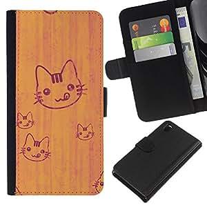 Sony Xperia Z3 D6603 / D6633 / D6643 / D6653 / D6616 , la tarjeta de Crédito Slots PU Funda de cuero Monedero caso cubierta de piel ( Cat Cute Tongue Licking Simple Drawing Art)