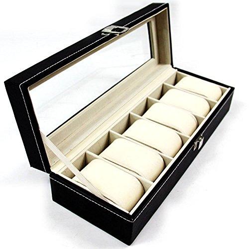 Nestling® Neu Uhrenbox für 6 Uhren Uhrenkasten Schwarz mit Glasfenster