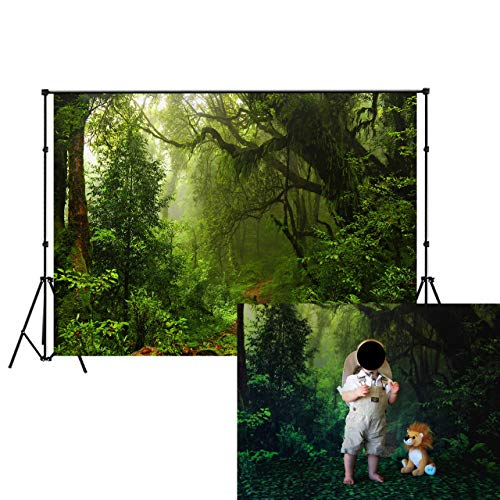 (LB Jungle Forest Backdrop 7X5ft Vinyl Tropical Green Rainforest Photo Backdrop for Photoshoot Kids Baby Shower Birthday Party Portraits Photo Booth)
