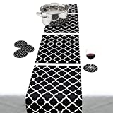 Black and white- Decorative Modular Trivet Runner for Table (4 pcs placemat) Extendable Hot Pad, X-Long Design and coasters,Heat-Resistant Surface,For Hot Plates, Pots, Dishes, Cookware, Kitchen