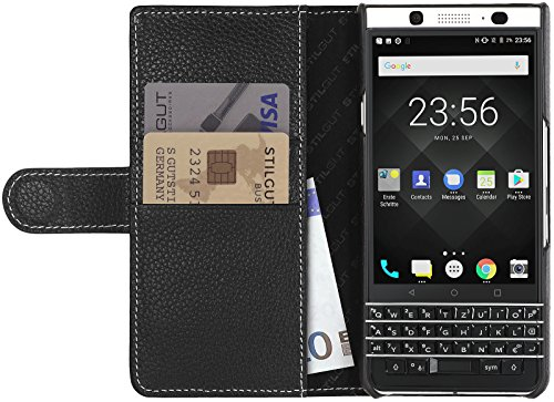 Black Blackberry Leather Folio (StilGut Talis, Wallet-Case with Slots for BlackBerry KEYone, Genuine Leather Cover, Black)