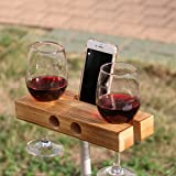 lieomo Handmade Outdoor Wooden Wine Glass Holder Phone Dock / Speaker(Dark wood color)