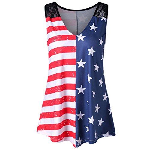 Fashion Women Tank American Flag Print Lace Tops Insert V-Neck Shirt Blouse