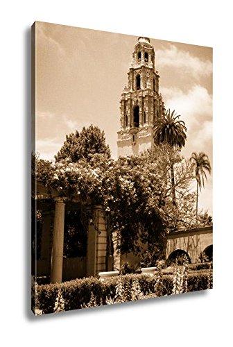 Ashley Canvas Tower At Balboa Park San Diego, Wall Art Home Decor, Ready to Hang, Sepia, 20x16, AG5491105 (Diego Garden San Decor)
