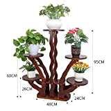 BLRYP Plant Stand Flower Stand Solid Wood Living Room Interior Balcony Flower Shelf Floor Multi-Layer Pot Rack Flower Pot Holder,Plant Display Stand (Color : 5 Tier-2)
