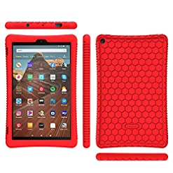 FINTIE Silicone Case for All-New Amazon Fire HD 10 Tablet (Compatible with 7th and 9th Generations, 2017 and 2019 Releases) – [Honey Comb Series] [Kids Friendly] Shock Proof Back Cover, Red