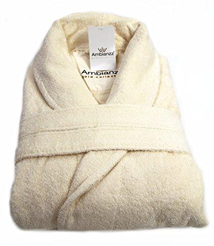 Ambianzz® Bademantel / Morgenmantel / Saunamantel in der Farbe Creme / Beige / Ecru, Gr. L / XL für Damen und Herren aus 100% Baumwolle mit stylischem Schalkragen