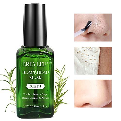 Blackhead Mask, BREYLEE Tea Tree Oil Blackhead Remover Mask Blackhead Removal Strips Face Strips Pore Strips Peeling Mask (17mL, 0.6 fl oz) (With 100 Pcs Strip Paper) (Blackhead Removing Strips)