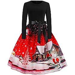 Flared Dresses for Women,Womens Christmas Dresses Plus Size Long Sleeve Casual Swing Tunic Dress HunYUN