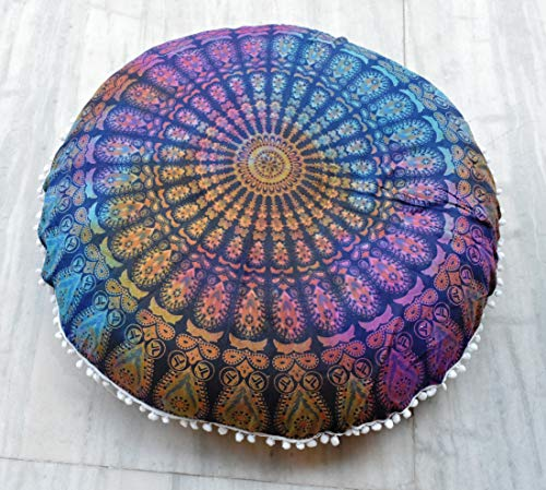 Traditional Jaipur Large Ombre Mandala Floor Cushion, Decorative Throw Pillowcases 32