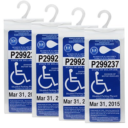 LotFancy Handicap Parking Placard Holder Cover, Disabled Parking Permit with Large Hanger for Autos, Pack of 4