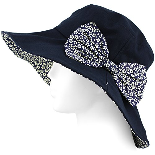 Evolatree Packable Summer Beach Sun Hat - Flexible Wide Wire Brim, Strap included - Navy - Beach Clothing Stores Panama City