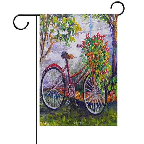 ALAZA Spring Country Bicycle Flowers Double Sided House Flag Garden Banner 28