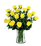 18 Yellow Long-Stem Roses with Vase