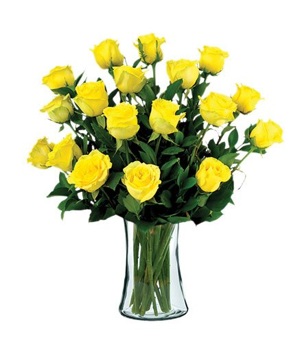 18 Yellow Long-Stem Roses with Vase by Flowers Sent Today
