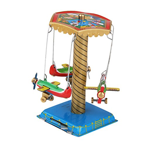 MagiDeal Plane Carousel Wind Up Tin Toy