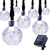 Lalapao Solar Powered Globe String Lights 30 LED 19.7ft Crystal Ball Christmas Fairy String Light for Outdoor Xmas Tree Garden Path Patio Home Lawn Holiday Wedding Decor Party (White)