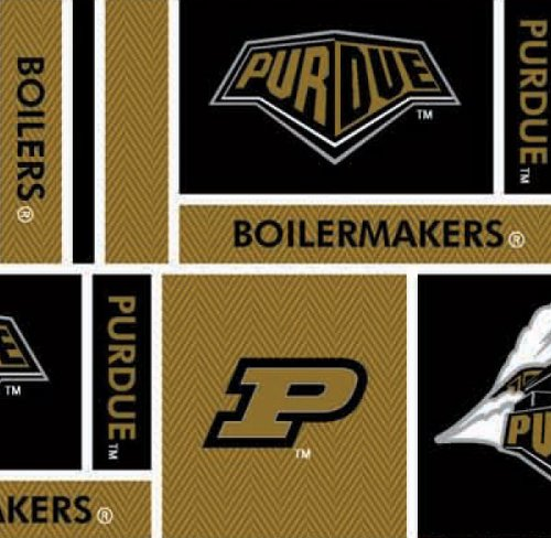 PURDUE COTTON FABRIC-100% COTTON PURDUE BOILERMAKERS FABRIC SOLD BY THE YARD