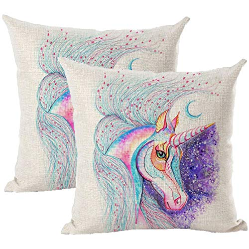 Pillow Covers Unicorn Pillowcase, Oil Painting Unicorn Throw Pillow Cover Boy Series Unicorn Pillowcase,Linen Pillow Case18x18Inch/45cmx45cm,Suitable for Home,Bedroom Layout,Office Layout,Pack of 2
