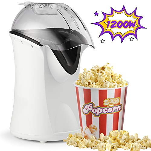 Fantastic Deal! Hot Air Popcorn Popper, 1200W Popcorn Machine for Home Use, No Oil Needed Popcorn Ma...