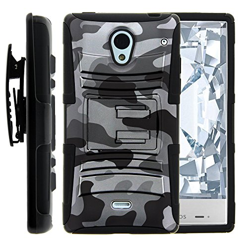 Sharp AQUOS Crystal Case, Sharp AQUOS Crystal Holster, Two Layer Hybrid Armor Hard Cover with Built in Kickstand for Sharp AQUOS Crystal 306 SH (Sprint, Boost Mobile, Virgin Mobile) from MINITURTLE | Includes Screen Protector - Gray Camouflage (Aquos Boost Mobile)