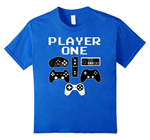 Kids PLAYER ONE Funny Video Game Halloween Costume Gamer T Shirt 12 Royal (Video Gamer Halloween Costumes)