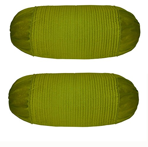 meSleep Bolster Covers Stripe Quilting Green Dupioni Silk Home Decorative Pillow Cases 2 Pcs ()