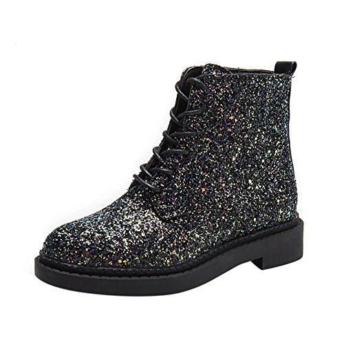 Sonnena Damen Elegant Lederstiefel Warm Mode Glanz Party Stiefel Martin Stiefel Sexy Flache Ferse Plateau Einzelne Stiefel Schnürer High-Top Boots Mode Frauen Schuhe 36-40 Schwarz