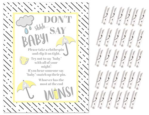 Don't Say Baby! -The Baby Shower Clothespin Game for Guests to Wear with Mini Clothespins Party Favors For 30 Players (Yellow Umbrella) (Baby Shower Party Favors Yellow)