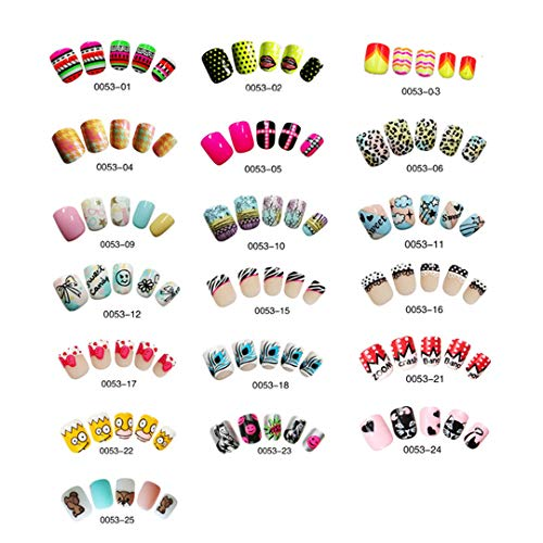 25 Designs Fake Nails Artificial 24Pcs Kids Finger Nail Short False Nails With Glue Cute Designs For DIY Nail 25]()