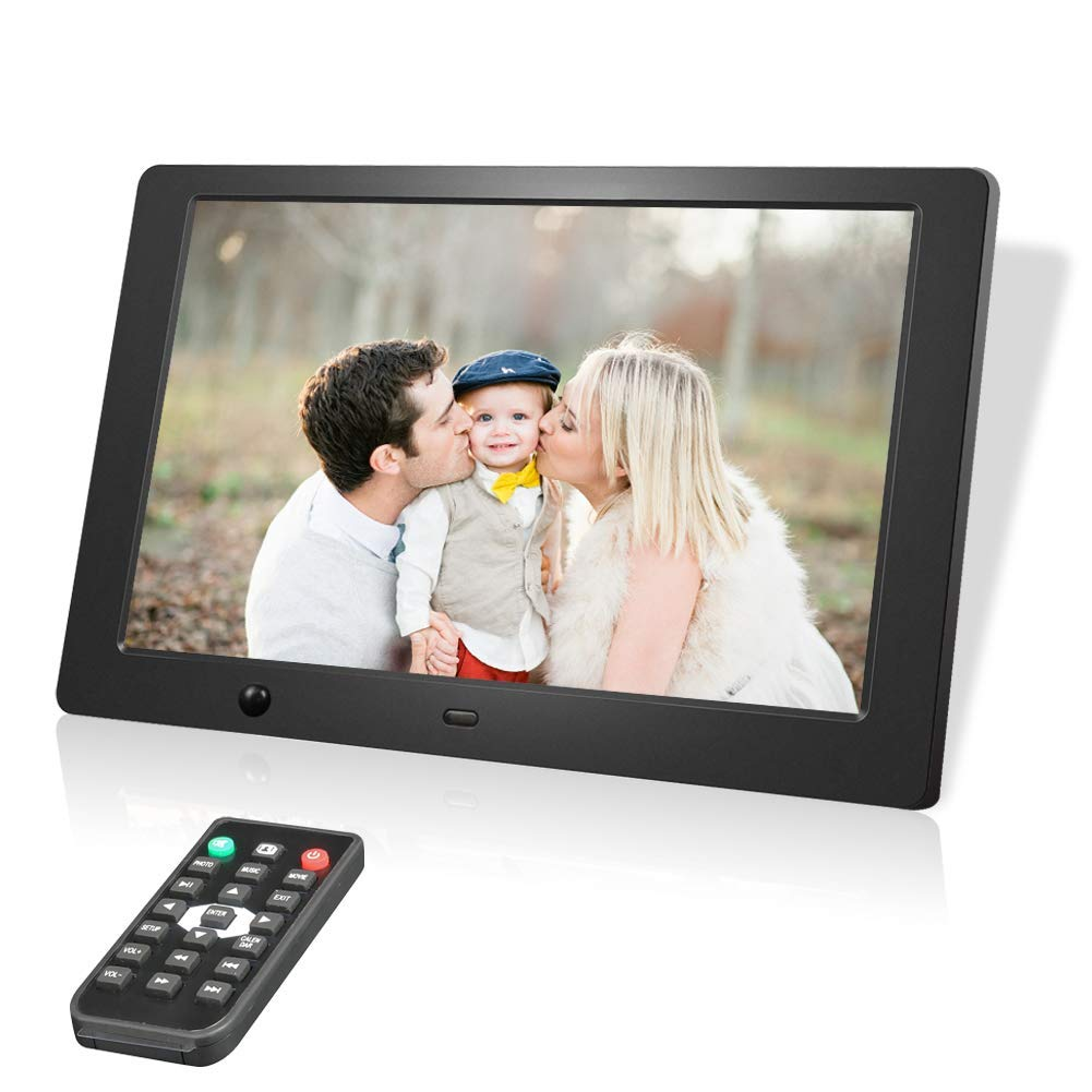 Digital Photo Frame 10 Inch, Electronic Picture Frames with 1280 x 800 HD IPS LCD and Motion Sensor, USB SD/SDHC Slot, 720P/1080P Video Player/Calender/E-Book, Remote Control Included (Black) by BAON
