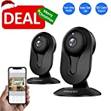 SMONET Wireless IP Camera, HD IP Security Camera Built in Two-Way Audio, Security Surveillance CCTV Camera with Night Vision-Cloud Service Available(2packs,Black)