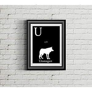 Alphabet Art Print - dog art print - U is for Utonagan Art Print - Modern Home Decor - dog silhouette art print 1